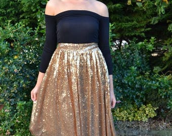 Summer Wedding Sale Custom made 'April' full pleated skirt with flat waistband street style sparkling separates
