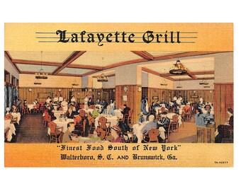 Walterboro South Carolina vintage linen postcard | Lafayette Grill, Brunswick Georgia | 1930s GA travel souvenir, hometown decor