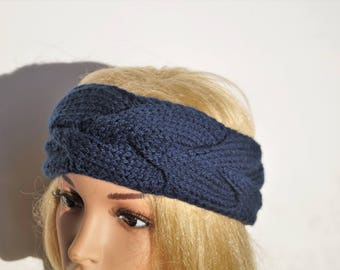 Dark Blue Ear Warmer,Blue Headband, Knitted Winter Headband , Handmade Ear Warmer,Brown Headband,Crochet Headband,Knit Turban Headband