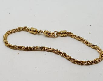 Vintage ladies chain bracelet rope twisted gold plated bracelet slim bracelet delicate rope and twisted bracelet gift for her birthday gifts