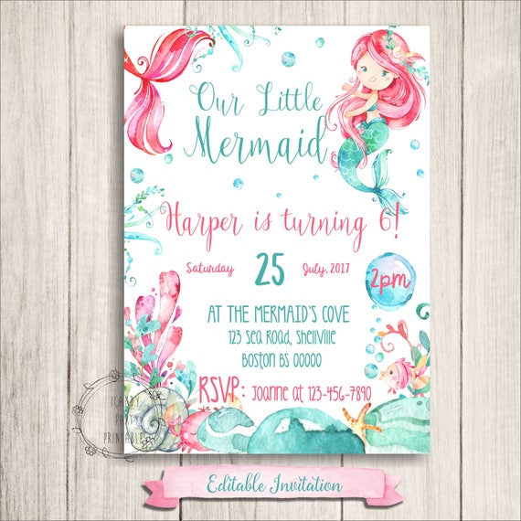 Mermaid birthday invitation mermaid party invitation mermaid il570xn filmwisefo Gallery