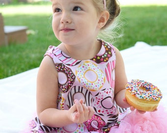 Donut Shop~Girls Reversible Pinafore Dress/Top~ Donuts ~Doughnut~ Donut Party~Birthday Outfit~ Size 3 month - 4T ~Photo Shoot~ Ready to Ship