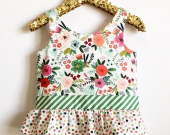 SAMPLE SALE On Trend Floral Girls Ruffle Tank Top~OOAK~Peplum Top~Floral Shirt~Summer Outfit~Girls Matching Outfits~Size 2T~Ready to Ship