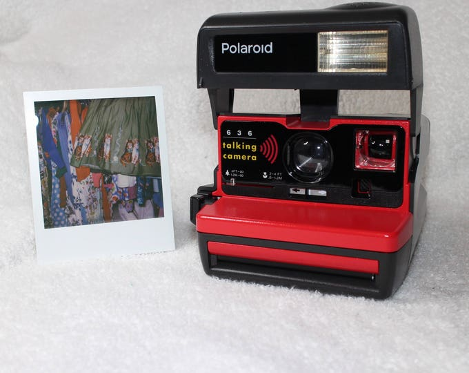 Talking Polaroid 600 OneStep With Close Up And Flash Built-In - Upcycled With Red