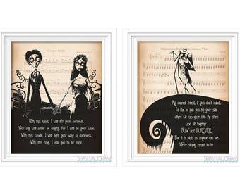 The Nightmare Before Christmas and Corpse Bride Art Print Set Tim Burton Quote Print Poster Wall Art Wedding Decor Wedding Gift Engagement