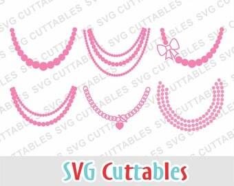 Necklace SVG, necklace svg cut file, dxf file, eps file, pearl necklace svg, Silhouette cut file, Cricut cut file, Digital Cut File
