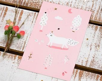 """Carte postale qui brille """"Feanòr, roi des renards polaires"""" /Illustration / Doré - Rose-Pastel/Forêt-Woodland-Nature-Animal-Carte de voeux"""