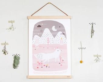 "Affiche - ""Isïl, la renarde arctique"" / Illustration - Renard - Peint / Hiver - Noël / Poster - Cadre mural"