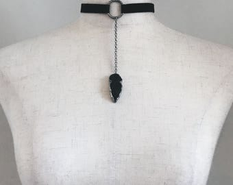 obsydian choker o-necklace, suede and silver, rocker chic, handmade jewelry