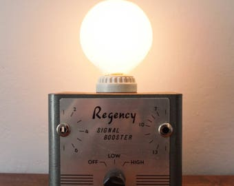 """Upcycled Antique """"Signal Booster"""" Lamp"""