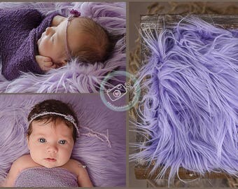 "Lilac Faux Fur, Baby, Newborn Prop, Photography Props,  Long Pile Artificial Fur Rug Basket Stuffer,Purple, 30x30"" 75x75cm Faux Flokati"