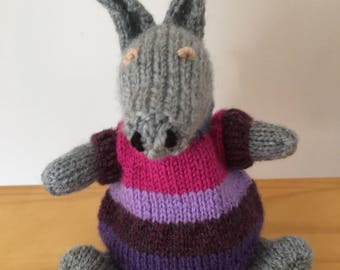 Hand knitted Aardvark toy Free uk postage