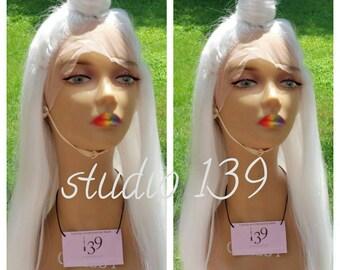 Platinum blonde lace front human hair blend wig