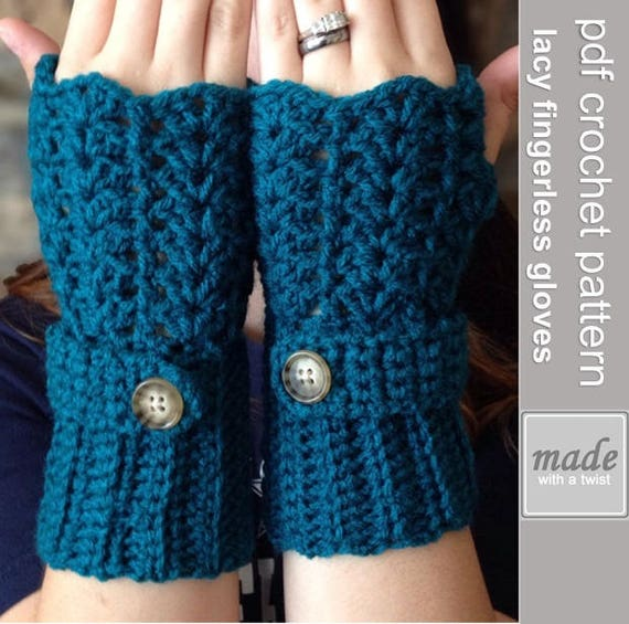 Fingerless Gloves CROCHET PATTERN - Feminine Lacey ...