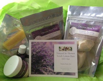 DIY, Do it Yourself Natural In - Shower Scrub Lotion Bars Kit, DIY Scrub Lotion Bars