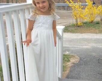 Lace Flower Girl Dresses, Lace Top Flower Girl Dress, Floor Length Flower Girl Dress, Custom Flower Girl Dresses, Tutu Skirt HandMade in USA