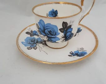 Vintage//Royal Duke//Fine bone China//cup and saucer//gold//Roses cup motif//tea cup//English tea cup//tea cup//Priory Dale