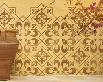 CASSIS TILE Stencil - Mediterranean Tile Furniture Floor Wall Tile Craft Stencil - CASS01