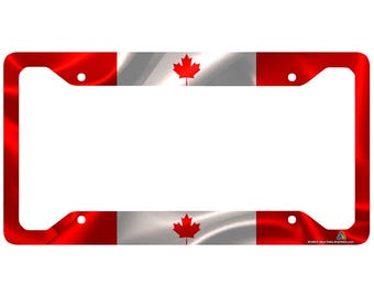 Canadian Flag License Plate Frame, Canada Flag Car Tag Frame, Canadian License Plate Holder, Canada Flag License Plate Frame-30-298