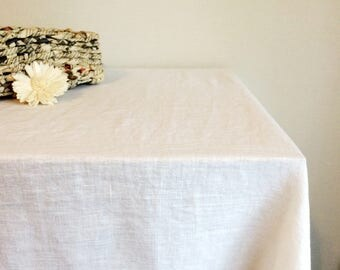 WHITE LINEN TABLECLOTH Stonewashed Tablecloth Rustic Table Linen Natural Table  Cloth Christmas Tablecloth Big Size Tablecloth