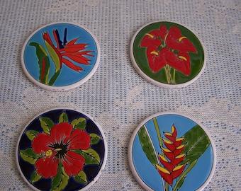 Set of 4 Ceramic Coasters with Coaster Caddy  Ceramic Tile
