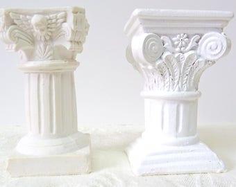 Column Pedestal Miniature TWO SIZES Fairy Pillar Cake Pedestal Miniature Dollhouse Pedestal, Small White Pillar, Use Inside or Outside