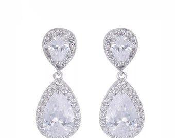Crystal Earrings, Cubic Zirconia Bridal Earrings, Rhinestone Dangle Earrings, Teardrop