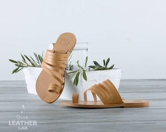 RHODES Flat sandals, leather sandals, Greek leather sandals, summer shoes, Greek sandals