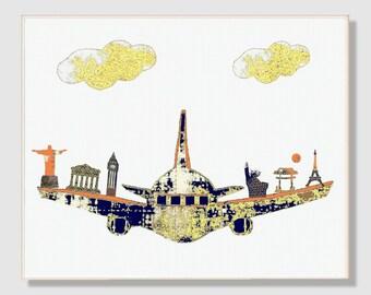 49, Nursery wall art,travel nursery decor,baby room decor,plane,blue,orange,yellow,Tableau chambre enfant