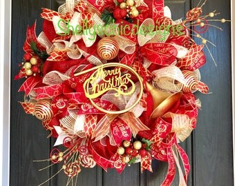 Gold and red Mesh Wreath, Christmas Mesh wreath, Elegant Christmas Wreath,Holiday Mesh Wreath, Front Door wreath,Victorian Christmas,