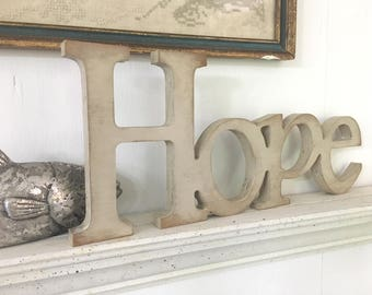 Hope sign,Hope wood word,religious word art, Religious signs, spiritual signs, inspirational signs,Hope plaques,aged religious signs,