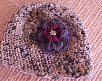 Soft Merino Wool Hat with purple flower