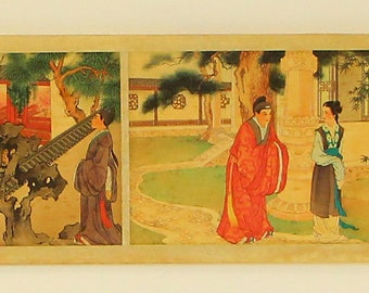 N3994 Chinese Watercolor On Silk Scroll Calligraphy Figure Painting Wang Wu 1630-1690