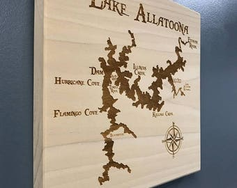 ON SALE Lake Allatoona Laser Engraved Wall Hung Map with Points of Interest Stained on Beautiful Poplar Hardwood