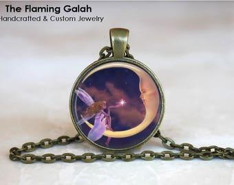 FAIRY Pendant • Purple Fairy • Fairy And Moon • Fairy In The Moon • Gift Under 20 • Made in Australia (P1367)