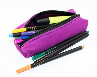 Leather Pencil Case! Handmade Case! Leather Pencil Pouch. Purple Pencil Case! FREE SHIPPING WORLDWIDE!