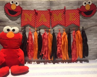 Sesame Street Elmo Birthday Party Wall Tassel Garland, Personalized Name Banner Bunting, Handmade Decorations