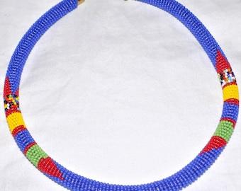 Elegant Masai/Maasai Beaded Choker Necklace (DARK BLUE)