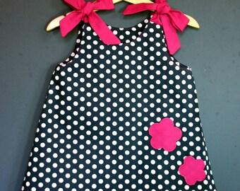 Baby dress Navy polka dot