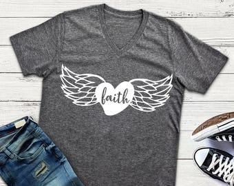 Faith Svg Angel wings Heart Svg Clipart Cut Files Silhouette Cameo Svg for Cricut and Vinyl File cutting Digital cuts file DXF Png Eps