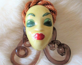 Vintage PORCELAIN FACE BROOCH Copper Head Dress Face Brooch