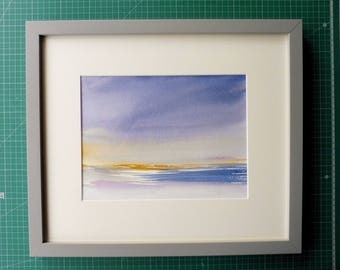 COAST, East Prawle. Original Watercolour Painting. FRAMED.