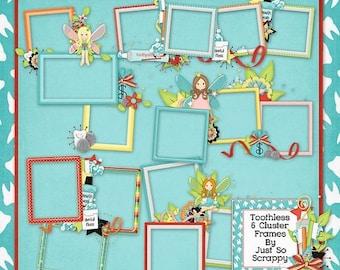 On Sale 50% Toothless Digital Scrapbook Kit Cluster Frames - Digital Scrapbooking
