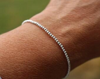 Silver Beaded Bracelet, womens beaded bracelet, minimalist silver bracelet, beaded stacking bracelet, gift for her, simple silver bracelet