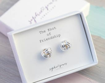 Bridesmaids knot earrings - friendship knot earrings - knot of friendship - silver knot earrings - bridesmaid gift - best friend gift