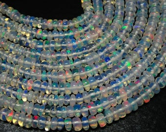 "Natural ETHIOPIAN OPAL - Smooth Roundel Beads - 16"" Inches Long Strand - Ethiopian Opal Beads Cb#726"
