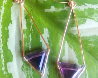 Fluorite gemstone trying necklace and earrings set available on 24 karat gold fill