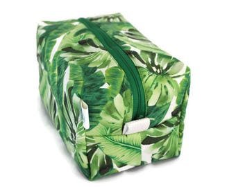 Boxy Bag -Toiletry Bag - Dopp Kit -Travel Bag -Makeup Bag - Accessory Bag - Wash Bag - Wet Bag - Tropical Palm Leaf
