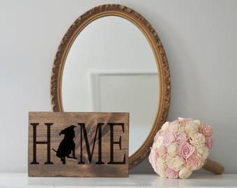 Home Sign with Pitbull Silhouette on Stained Wood, Dog Decor, Dog Painting, Gift for Dog People, Housewarming Gift, Staffordshire Terrier