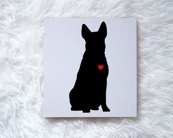 Hand Painted Australian Cattle Dog Silhouette on Painted Grey Wood, Dog Decor Dog Painting, Gift for Dog People, New Puppy, Housewarming